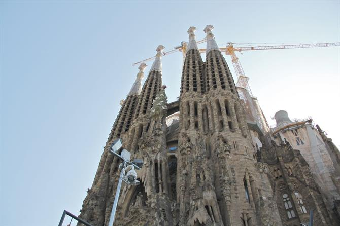 Top views of Sagrada Familia, Spain