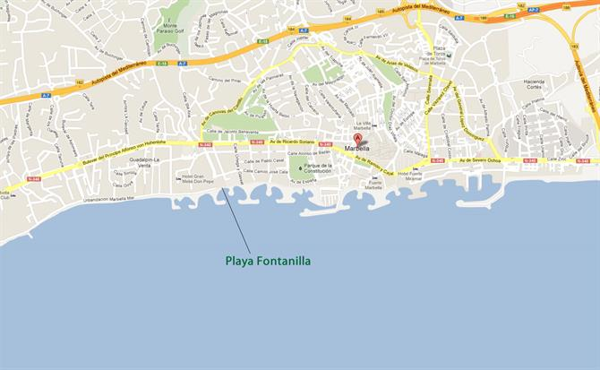 Playa de la Fontanilla Marbella map