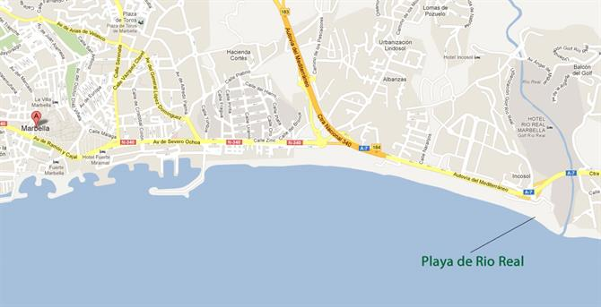 Playa de Rio Real Marbella map