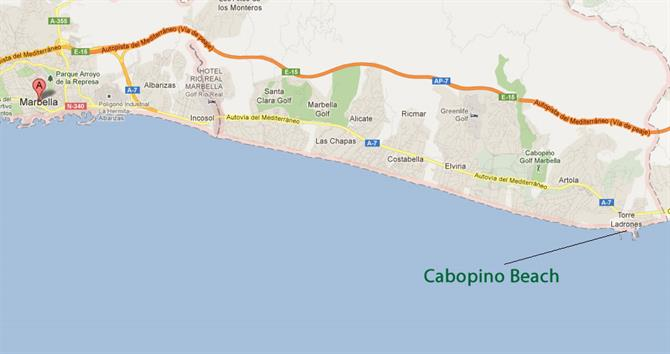 Cabopino beach Marbella map